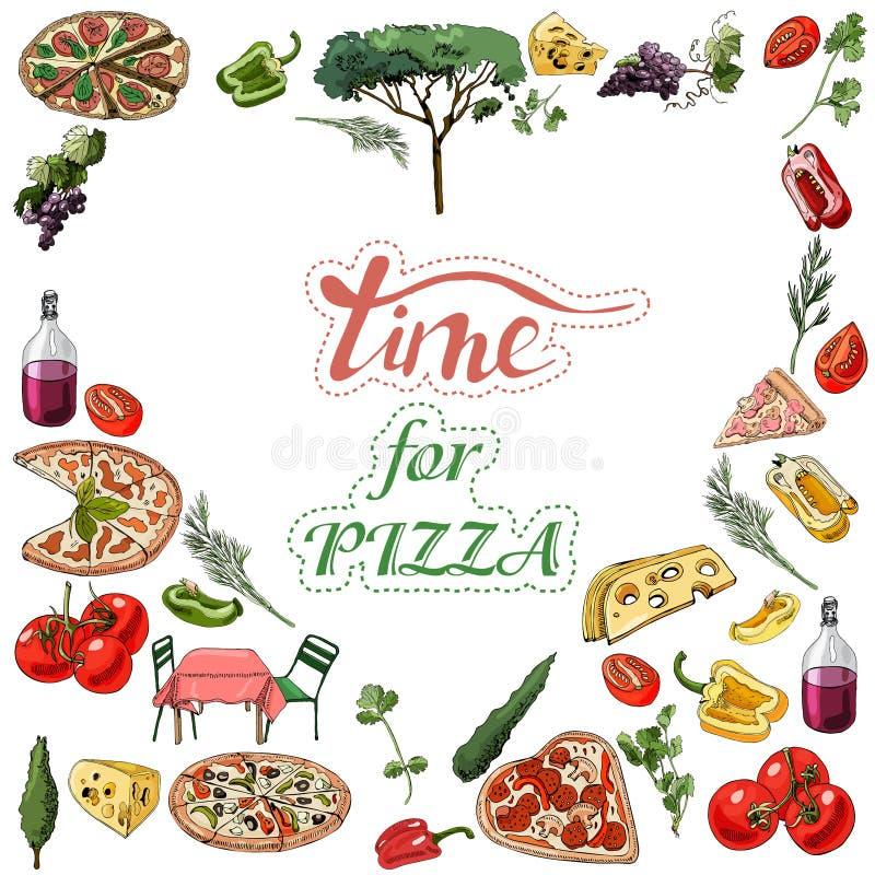Zusammensetzung des umgekehrten Herzens mit italienischer Nahrung, Gemüse und Anlagen Handgezogene Tinte und farbige Elemente lok stock abbildung
