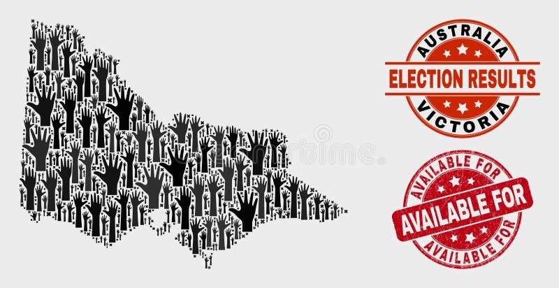 Zusammensetzung des Wahl-Australiers Victoria Map und verkratztes verfügbares für Stempelsiegel vektor abbildung