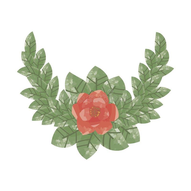 Zusammensetzung einer einzelnen roten Blume umgeben durch grüne Blätter vektor abbildung