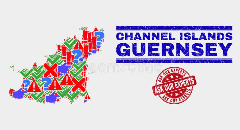 Zusammensetzung Guernsey Insel Karte Symbol Mosaik und Scratched Ask Unsere Experten Wasserzeichen vektor abbildung