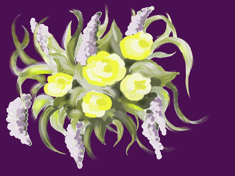 Zusammensetzung mit fantastischen Blumen vektor abbildung