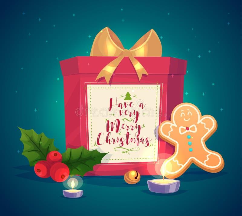 Zusammensetzung mit Geschenkkerzen und -plätzchen stock abbildung
