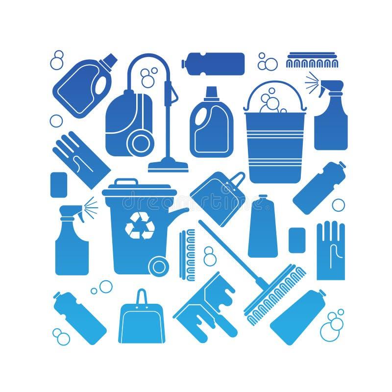 Zusammensetzung mit Reinigungssymbolen lizenzfreie abbildung