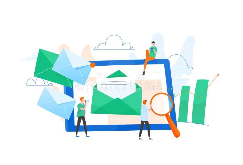 Zusammensetzung mit riesigem Tablet-PC, Buchstabe im Umschlag auf Schirm, Gruppe Arbeiter oder Team von Marketingspezialisten EMa vektor abbildung