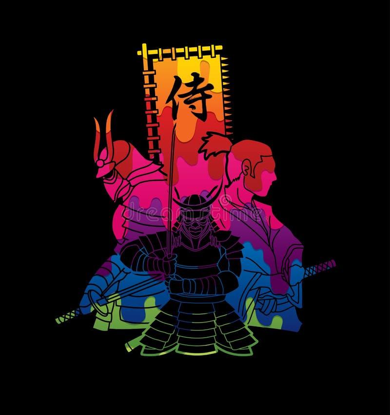 Zusammensetzung mit 3 Samurais mit Samurai-Grafikvektor Durchschnitt des japanischen Gusses der Flagge stock abbildung