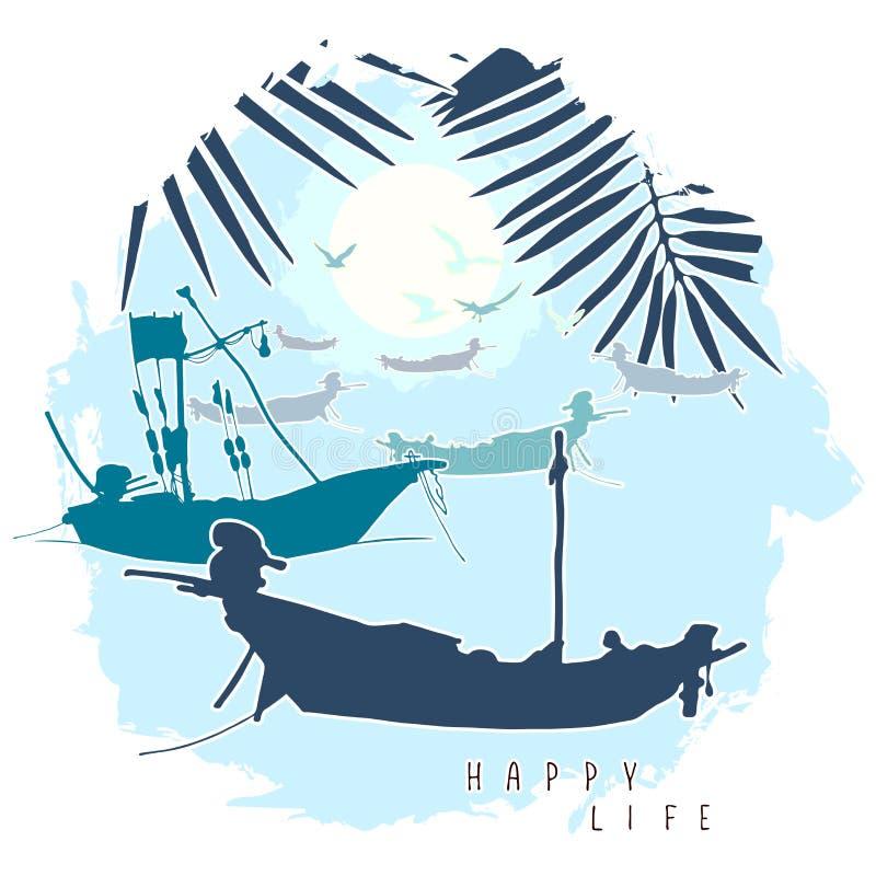 Zusammensetzung mit Schattenbildern von Booten, von Palmblättern und von Fliegenseemöwen vor dem hintergrund des Abendhimmels lizenzfreie abbildung