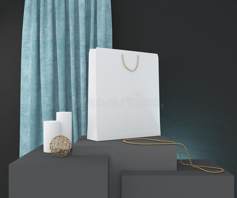 Zusammensetzung mit weißer Papiertüte, Kerzen und Dekor Wiedergabe 3d lizenzfreie abbildung
