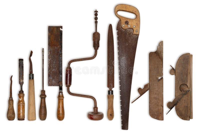 Zusammensetzung von alten Werkzeugen für Holz stockfotos