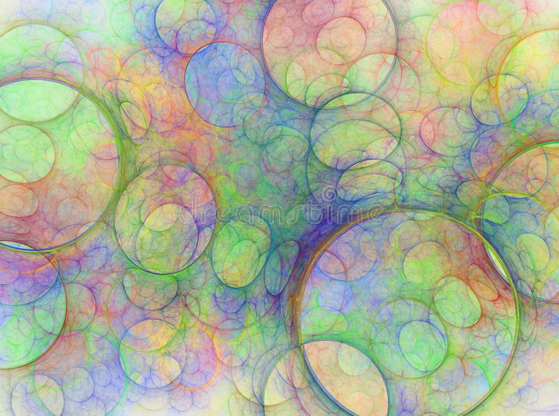 Zusammensetzung von Blasen und von Kreisen und von Fractalelementen lizenzfreie abbildung