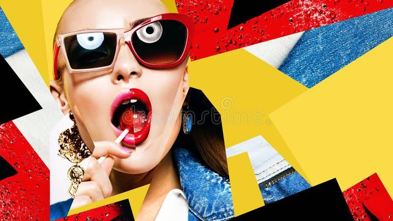 Zusammensetzung von Frauen in der Sonnenbrille mit rotem Lutscher lizenzfreies stockbild