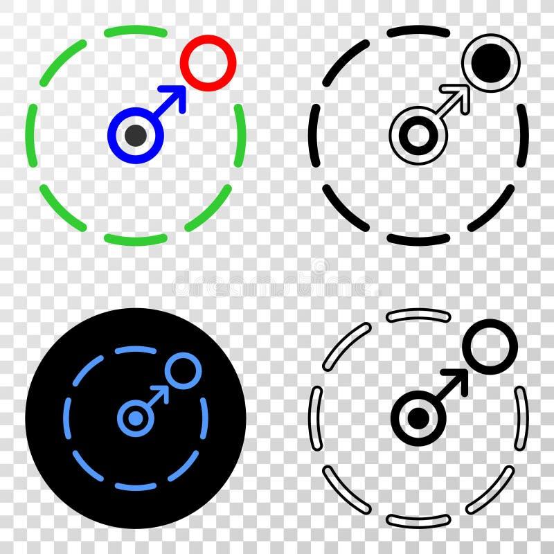 Zusammensetzung von Gradiented punktierte Bewegung, Umkreis und Grunged-Stempel einzukreisen stock abbildung