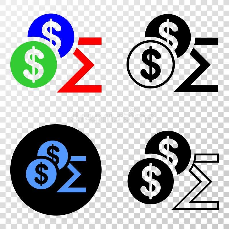 Zusammensetzung von Gradiented punktierte Dollar-Summe und Grunged-Stempel lizenzfreie abbildung