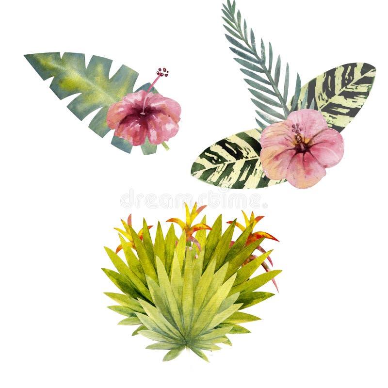 Zusammensetzung von mehrfarbigen tropischen Blättern Für Einladungen, Gruß Karten und Tapeten watercolor vektor abbildung