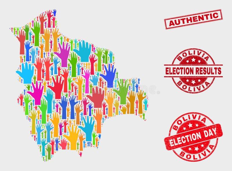 Zusammensetzung von Wahl-Bolivien-Karte und von verkratzter authentischer Dichtung vektor abbildung