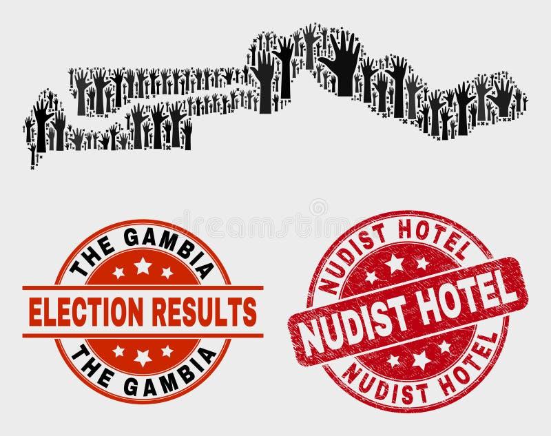 Zusammensetzung von Wahl die Gambia-Karte und verkratzte das Nudist-Hotel-Stempelsiegel stock abbildung