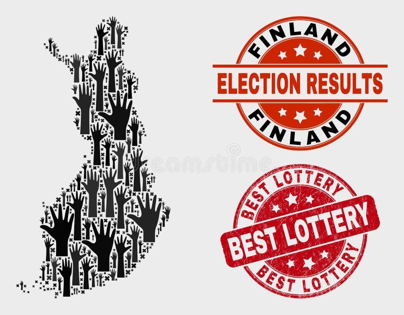Zusammensetzung von Wahl-Finnland-Karte und von verkratztem bestem Lotterie-Stempel stock abbildung