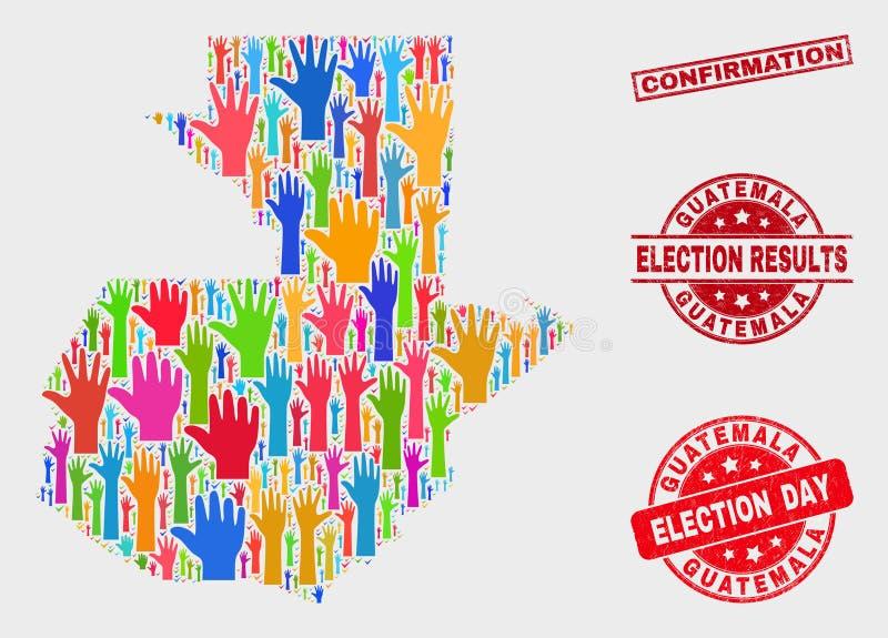 Zusammensetzung von Wahl-Guatemala-Karte und von Bedrängnis-Bestätigungs-Stempel vektor abbildung