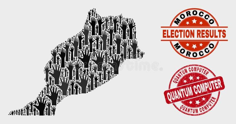 Zusammensetzung von Wahl-Marokko-Karte und von verkratztem Quantums-Computer-Stempelsiegel lizenzfreie abbildung