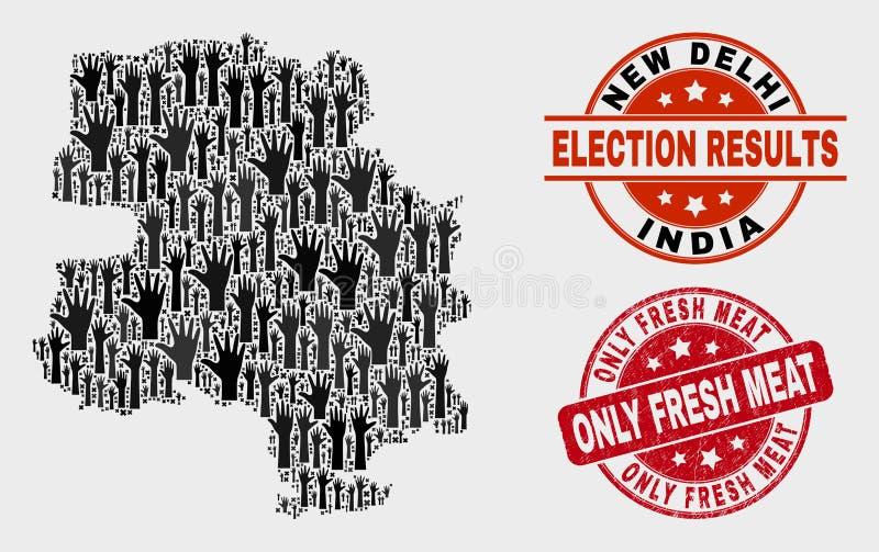 Zusammensetzung von Wahl-Neu-Delhi Stadtplan und von verkratztem nur Frischfleisch-Stempel lizenzfreie abbildung