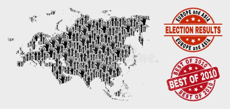 Zusammensetzung Wahl-Europa- und Asien-Karte und verkratztes Bestes von Stempel 2010 lizenzfreie abbildung