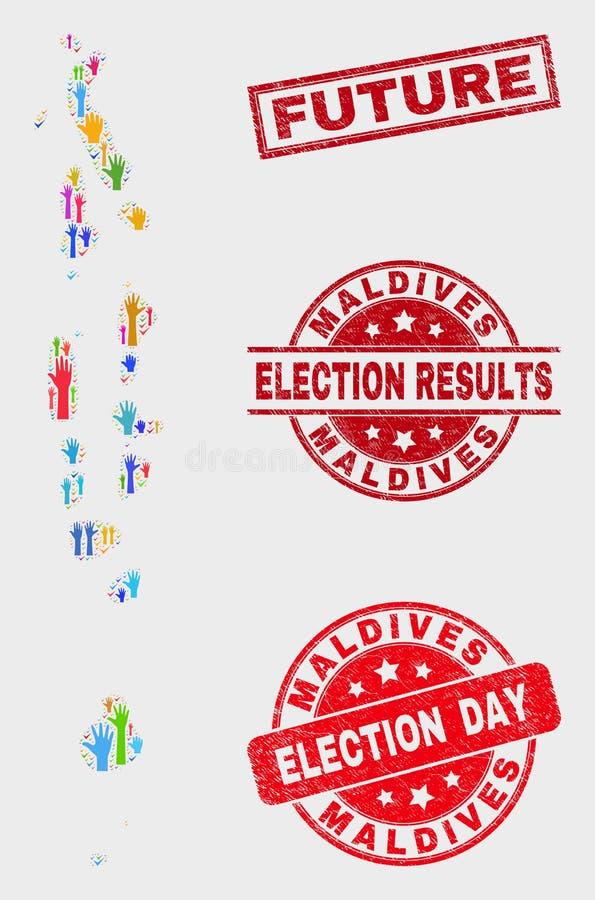 Zusammensetzung Wahl-Malediven-Karte und zukünftiges Stempelsiegel beunruhigen lizenzfreie abbildung