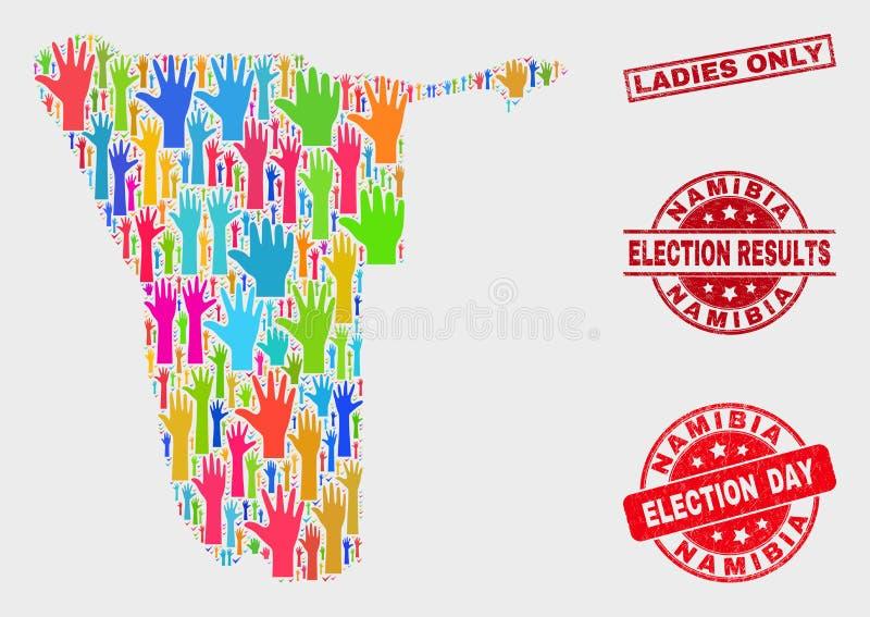 Zusammensetzung Wahl-Namibia-Karte und des verkratzten Damen-nur Stempelsiegels lizenzfreie abbildung
