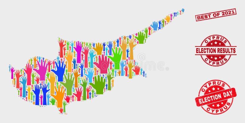 Zusammensetzung Wahl-Zypern-Karte und Bedrängnis-Bestes von Stempel 2021 lizenzfreie abbildung