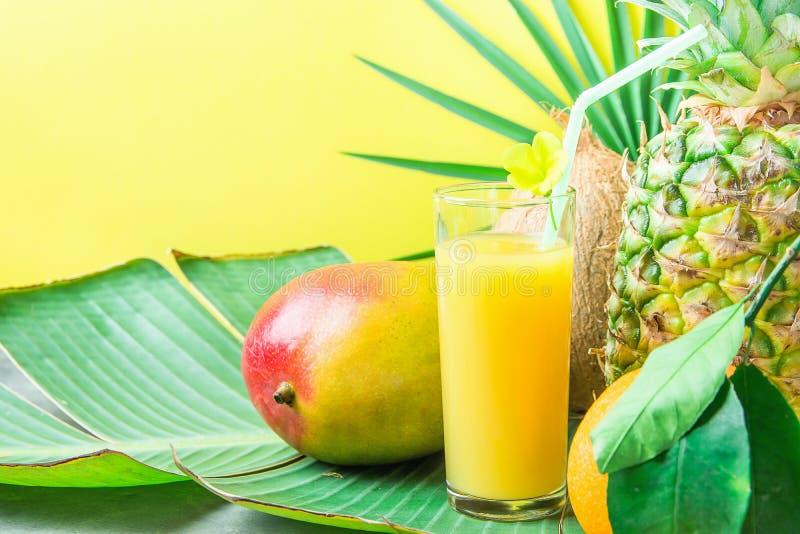 Zusammensetzungs-hohes Glas mit frisch zusammengedrücktem tropischem Fruchtsaft mit Straw Pineapple Coconut Mango Orange auf groß lizenzfreie stockfotografie