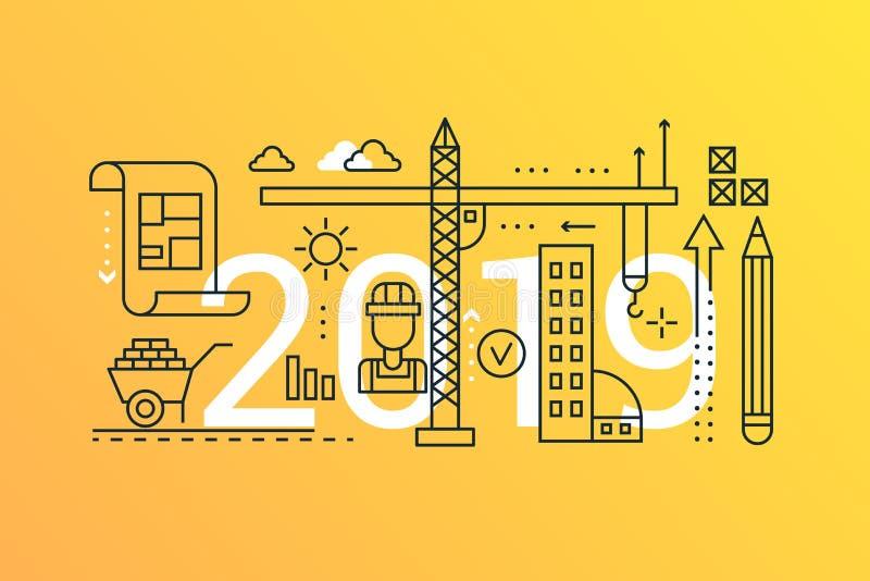 Zusammensetzungs-Konzeptfahne des Gebäude- und Bau2019 Wortes modische Planungsikonen der Entwurfsanschlag-Architektur lizenzfreie abbildung