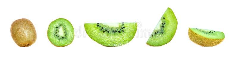 Zusammensetzungssammlung der Fruchtkiwi in den verschiedenen Veränderungen lokalisiert auf weißem Hintergrund Vollständige und ge stockfotos