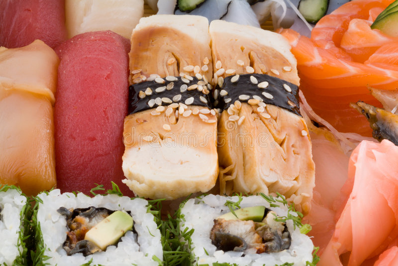 Zusammenstellung der japanischen Sushi lizenzfreies stockbild