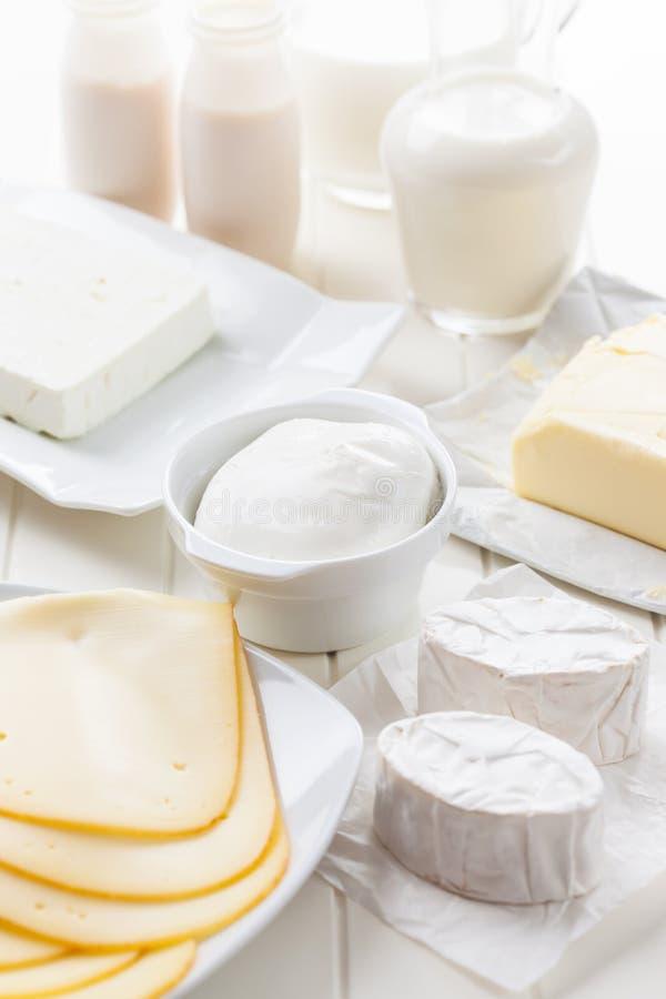 Zusammenstellung der Milchprodukte lizenzfreies stockbild