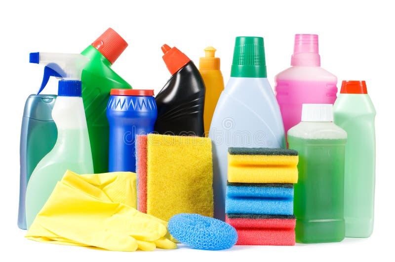 Zusammenstellung der Mittel für die Reinigung getrennt stockbild