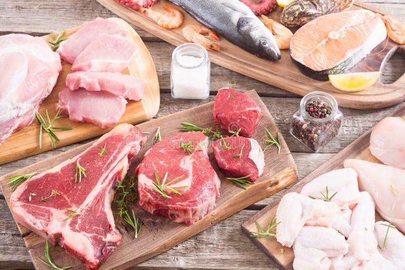 Zusammenstellung des Fleisches und der Meeresfr?chte lizenzfreie stockfotografie