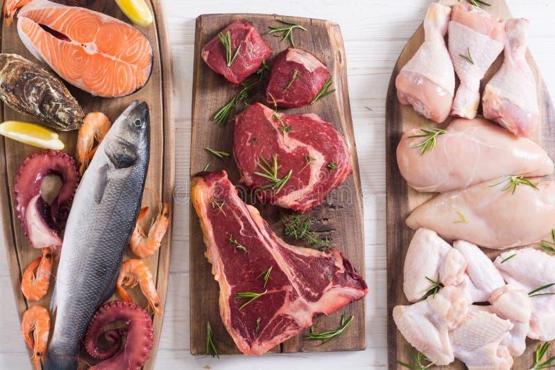 Zusammenstellung des Fleisches und der Meeresfr?chte lizenzfreies stockfoto