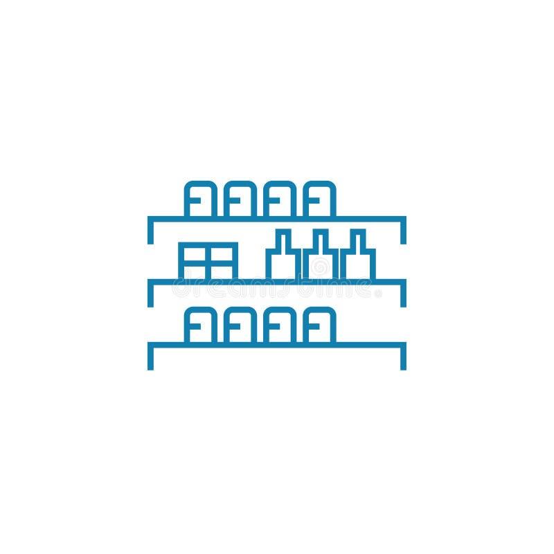 Zusammenstellung des linearen Ikonenkonzeptes der Waren Zusammenstellung von Waren zeichnen Vektorzeichen, Symbol, Illustration vektor abbildung