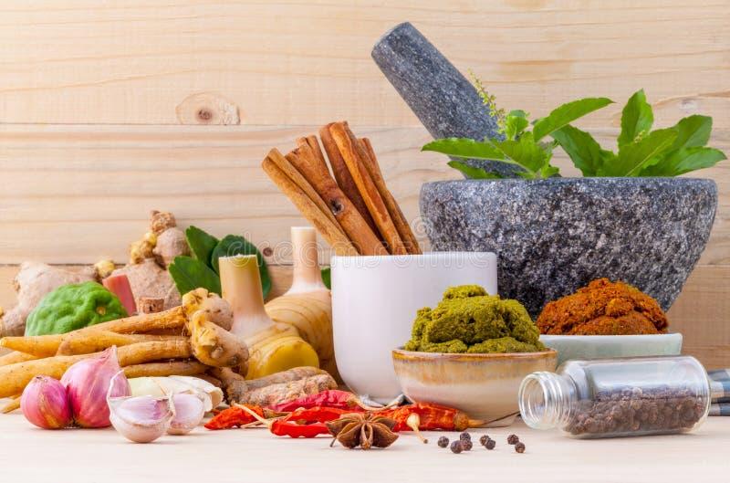 Zusammenstellung des thailändischen Lebensmittels Bestandteile und Paste von thailändischem kochend stockbild