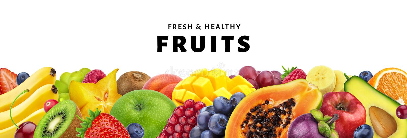 Zusammenstellung von den exotischen Früchten lokalisiert auf weißem Hintergrund mit Kopienraum, von frischen und gesunden Früchte lizenzfreie stockfotografie