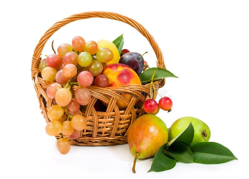 Zusammenstellung von Früchten in einem Korb stockfotografie