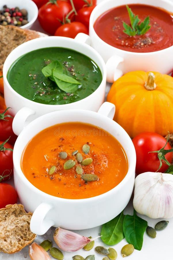 Zusammenstellung von Gemüsesahnesuppen und von Bestandteilen, vertikal stockfotografie