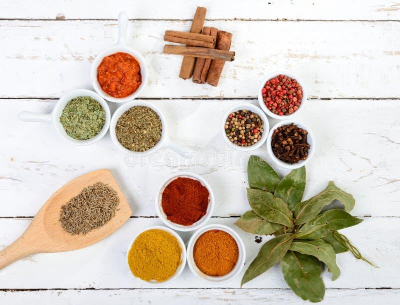 Zusammenstellung von indischen Gewürzen stockfotos