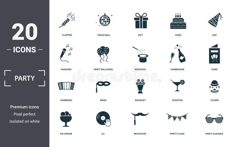 Zusammenstellung von Partysymbolen Einfache Elemente wie Flapper With Confetti, Disco Ball, Geschenk, Kuchen, Cap stock abbildung