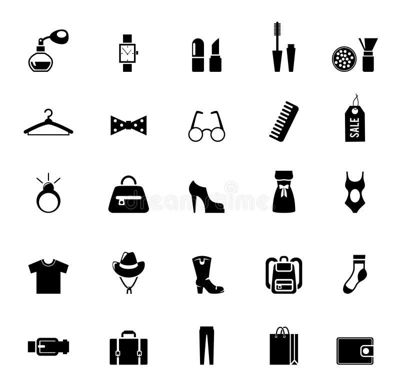 Zusammenstellung von schwarzen Kleidungs-und Zusatz-Ikonen vektor abbildung