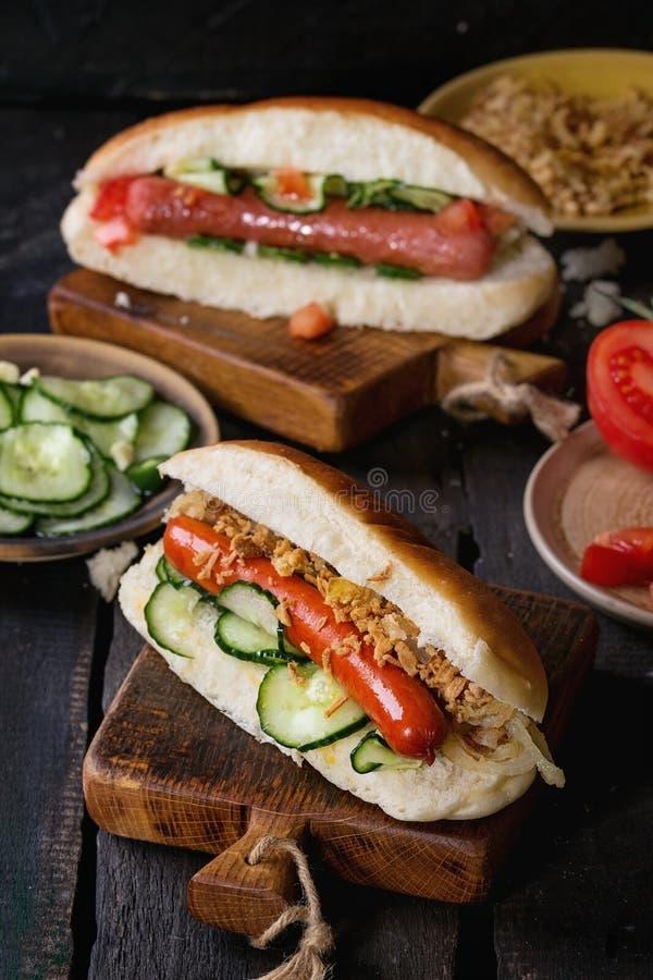 Zusammenstellung von selbst gemachten Hotdogen lizenzfreie stockfotografie