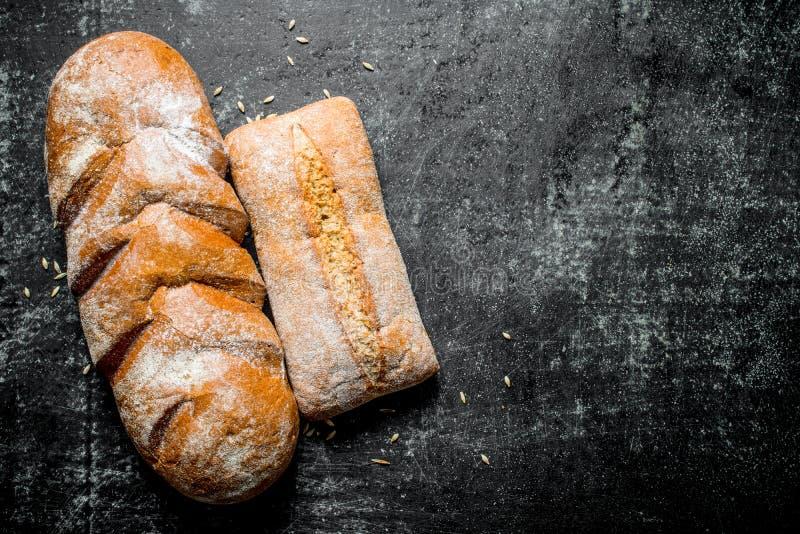 Zusammenstellung von verschiedenen Arten des frischen Brotes lizenzfreie stockbilder
