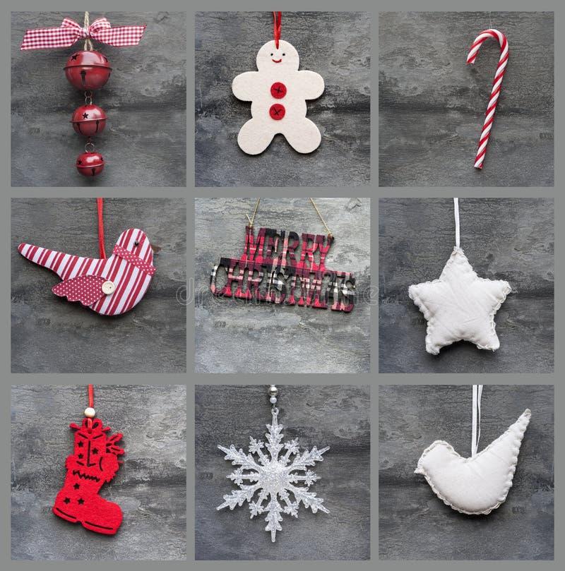 Zusammenstellungscollage von gealterten traditionellen Weihnachtsdekorationen stockbild