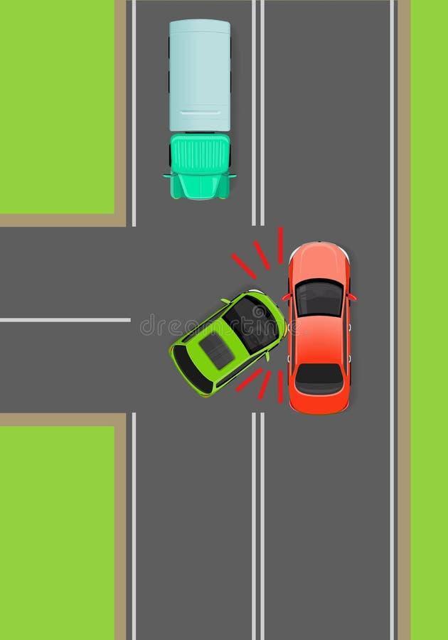 Zusammentreffen Von Autos Auf T-Kreuzung Flachem Vektor-Diagramm ...