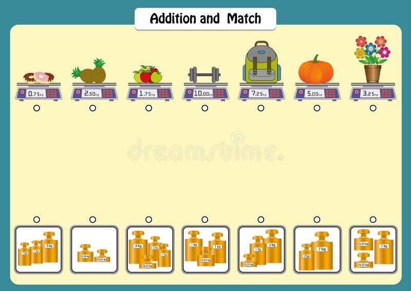 Zusatz und bringen die Gewichte von Gegenständen, die Mathearbeitsblätter für Kinder, die Skalen und die Gewichte zusammen lizenzfreie abbildung