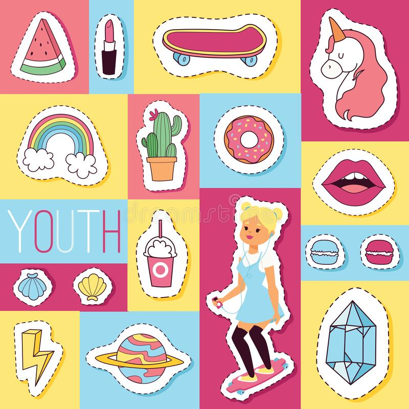 Zusatzlippenstifteiscremekindereinhornregenbogen des nahtlosen Musters des Karikaturvektors mädchenhafter und doghnut Aufkleberhi lizenzfreie abbildung