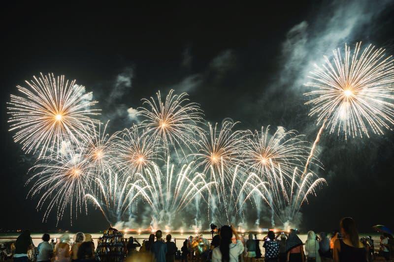 Zuschauer passen bunte Feuerwerke im nächtlichen Himmel auf dem Strand auf lizenzfreies stockbild